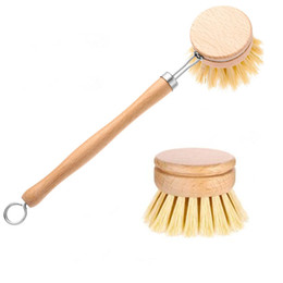Doğal Ahşap Uzun Sap Pan Pot Fırça Bulaşık Bowl Yıkama Temizleme Fırçası Yedek Fırça Başlıkları Ev Mutfak Temizleme Araçları