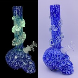 tall chamber bongs UK - 25cm 10in Tall Skull Head Chamber Soft Glass Water Pipes Glow in the Dark Wrapped Design Soft Glass Water Bongs Dab Rigs for Dry Herb Smokin