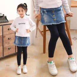 tutu leggings NZ - ZvmUc Girls' leggings spring 2020 new medium and large tight Denim tight pants children's denim fake two-piece skirt children's cotton stret