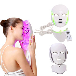 Spike 7 color LED phototherapy facial beauty machine LED facial neck mask with micro current skin whitening device DHL free delivery on Sale