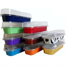 foil baking Canada - 200 ml cake Oven oven color strip aluminum foil durian cheese cake baking box sushi aluminum foil box with lid