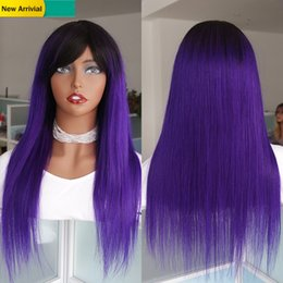 black dark purple ombre hair 2020 - Purple Ombre Human Hair Wig With Front Bang For Black Women Long Straight Raw Indian Remy Glueless Lace Wigs Cheap Machi