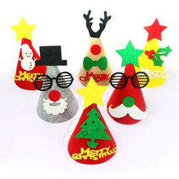 felt hats children UK - 3D Three Dimensional Hats Christmas Tree Modeling Hat Children Felt Trees Shape Festival Gifts New Arrival 3 2py L1