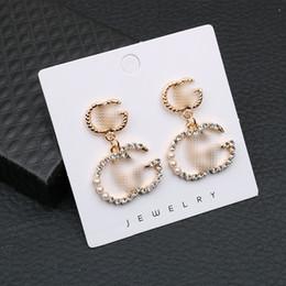 Shiny Alfabeto di diamante degli orecchini donne di marca pendente dell'orecchino della GG lettere Designer Orecchini Vintage orecchini gioielli e accessori in Offerta