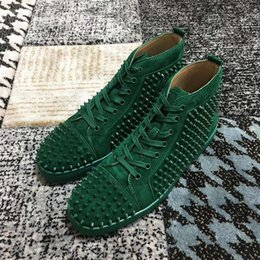 cowboy prints NZ - 2020 NEW Red Bottom Sneakers Drill nail shoe High gang Suede spike Shoes For Men and Women Shoes cowboy Martin Party crystal Leather Sn hm3