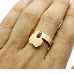 t letter ring UK - G Fashion Jewelry 316l Titanium Gold -Plated Heart -Shaped Ring T Letter Letters Double Heart Ring Female Ring For Woman