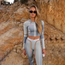 Wholesale skirt tracksuits resale online – women fitness two pieces set long sleeve crop top letters print elastic skinny leggings sportswear tracksuit slim outfit
