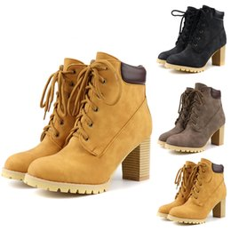 brown women heel booties Australia - Winter Boots Women's Casual Cross Lace-Up Flock Square root Boots High-Heeled Large Size Shoes woman Ladies Booties