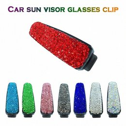 clip sun visors for cars Canada - For Girls Universal Car Sun Visor Glasses Sunglasses Holder Clip Rhinestone Auto Fashion Accessories High Quality Practical New N4jM#