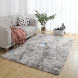 hand tying machine Canada - Tie-dye Gradient Color Artificial Fur Carpet Living Room Bedroom Mat for Washing Machine Home Decorate Shaggy Fluffy Nordic Rugs vIbx#