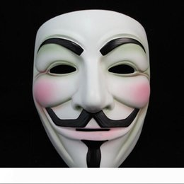 v for vendetta party props Canada - White V Mask Masquerade Mask Eyeliner Halloween Full Face Masks Party Props Vendetta Anonymous Movie Guy Wholesale free shipping YZ322