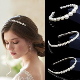 cute jewelry for sale Canada - Hot sale Korean design Pearl Headband for Women Girls Party Cute Hair Accessories Bridal Crown Handmade Wedding Hair Jewelry