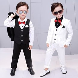 european wedding tuxedo NZ - 2018 Brand Flowers Boys Suits Wedding Formal Children Suit Tuxedo Dress Party clothing vest pant coat ceremony Costumes 2-12Y S200113