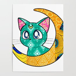 painting green Australia - Green Cat Sailor Moon Japan Anime Canvas Painting Hd Printed Home Decoration Pictures Poster Wall Art For Living Room Artwork