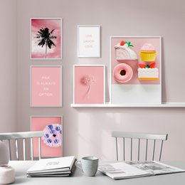 rectangle cake decoration UK - Pink Flower Cake Wall Art Canvas Painting Nordic Posters And Prints Wall Pictures For Living Room Home Decoration