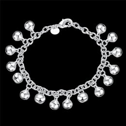 silver bracelet bells Australia - Bell charm bracelet plated sterling silver jewelry fashion lovely birthday gift woman jingling bangles hot