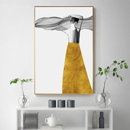 sexy figure for girls Australia - Abstract Yellow Dress Gorgeous Girl Sexy Back Canvas Painting Fashion Wall Art Picture for Living Room Home Decor (No Frame)