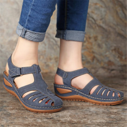 low platform wedges UK - 2020 Women Summer Vintage Gladiator Sandals Rome Female Shoes Ladies Round Toe Platform Wedges Shoes Woman Plus Size 34-46