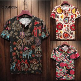 sleeves shirts for men Canada - CHAMSGEN 2020 NEW Men's Shirt Ethnic Style Printed Chemise Homme Short Sleeve Summer Casual Shirts For Men Camisa Masculina F519