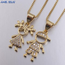 pendant couple boy girl UK - MHS.SUN fashion women cz zircon jewelry fashion boys girls character pendant necklace for couple Valentine's Day gift hot sale