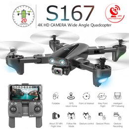 red toy helicopter Canada - S167 Foldable Profissional Drone with Camera 4K HD Selfie 5G GPS WiFi FPV Wide Angle RC Quadcopter Helicopter Toy E520S SG900-S