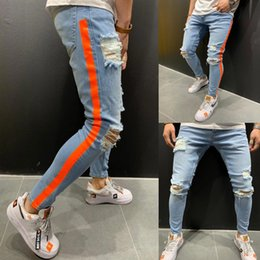 Wholesale mens striped trousers for sale – dress Mens Hole Striped Pencil Jeans Men Summer Ripped High Fashion Light Washed Denim Pants Man Streetwear Trousers