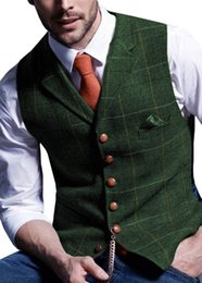 cheap cotton suits UK - Cheap Vests Mens Suit Vest Notched Plaid Wool Herringbone Tweed Waistcoat Casual Formal Business Groomman For Wedding Green Black Green Grey
