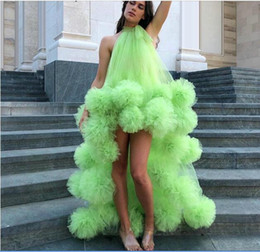 Wholesale shot prom dresses for sale - Group buy Green Hi Lo Homecoming Dresses A Line Handmade Flowers Costumes Street Shot Dresses Tulle Prom Party Gown