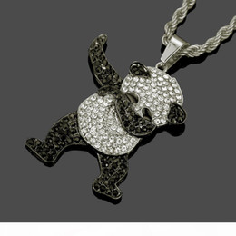 panda jewelry crystals Australia - Hip Hop Dancing Funny Animal Panda Iced out Pendant with Gold Twist Chain Rock Hip Hop Necklaces for Mens Jewelry Gift