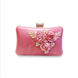 hot pink chain Australia - ABER 2020 hot sales women handmade evening clutch bags flowers party bags with chain wedding dinner bags MN771