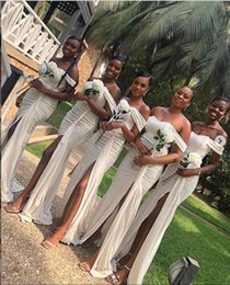 african wedding pictures UK - Plus Size off Shoulder chiffon Bridesmaid Dresses long Simple African Country Wedding Guest Gowns Maid Of Honor Dress