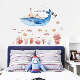 refrigerator cute stickers Canada - Cute Whale House Wall Stickers Self Adhered Waterproof PVC Sticker For Home Children Room Decor Murals Hot Sale 4zh BB