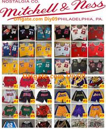 Wholesale mens gym hot pants resale online – Vintage Mens Authentic Basketball Shorts Team Pocket Hot Dwayne Wade Sports Gym Pants Chicago Bulls Miami nba Heat Jerseys