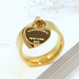 t letter ring UK - New Fashion Jewellery 316L Titanium Gold-Plated Heart-Shaped Ring T Letter Double Heart Ring Ladies Famous Heart Ring For Gifts