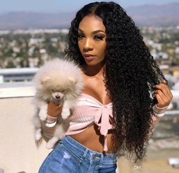 wave machine for hair Canada - Peruvian Deep Wave 360 Lace Frontal Wigs Pre Plucked With Baby Hair Remy Human Hair Wigs 150% Density 360 Lace Wig For Woman