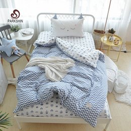 cartoon bedspreads Australia - Parkshin Child Cartoon Wave Pattern Active Printing Bedding Set 100% Cotton Soft Protect Kids Skin Comfortable Bedspread AA4X#