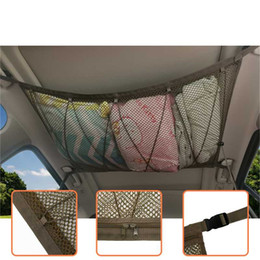 storage car trunk organizers Australia - Universal Car Roof Interior Driver Storage Netting Bag with zipper drawstring Car Trunk Storage Mesh Organizer