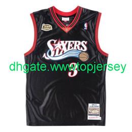 Cheap Allen Iverson Mitchell Ness Black Finals Top Jersey Throwbacks Vest Stitched basketball jerseys