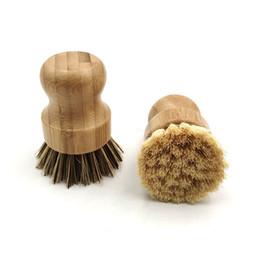 Palm Pot Wash brosse ronde en bois Mini Brosse à vaisselle Scrub naturel brosse poignée durable Scrubber court de nettoyage Plats Cuisine Kit en Solde