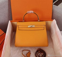 orange purses UK - Fashion Luxury Designer Woman Handbag Classic Soft Cowhide Tote Genuine Leather Strap Shoulder Bags High Quality Cross body Bag Purse Clutch