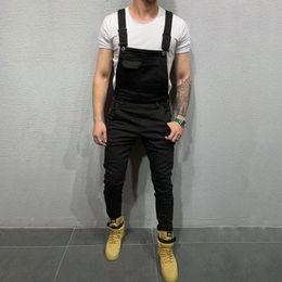 Wholesale jean overalls pants for sale – dress Kenntrice Men Jumpsuit Casual Romper Black Jeans Pants Streetwear Fashion Solid Color Suspenders Men Overalls Denim