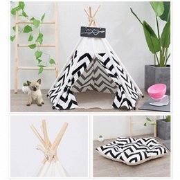 cute pet beds Australia - Soft Pet Tent for Dogs Puppy Cat Bed Canvas Pet House Teepee Nest Cat Shed Dog Tent Kennel with Cushion Cute Supplies new 2kXz#