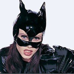 wholesale cat suits UK - Halloween performance head headgear headgear cover patent leather cat girl head cover leather game suit Cosplay fun