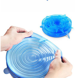 6PCS SET Silicone Stretch Lids Suction Pot Reusable Fresh Keeping Wrap Seal Lid Pan Cover Kitchen Tools Accessories Free Shipping on Sale