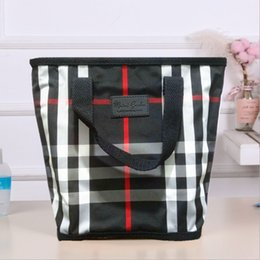 outdoor bath bag UK - fjh1i Striped plaid large capacity portable travel wash bag Striped plaid storage basket waterproof outdoor fitness bath bag portable storag