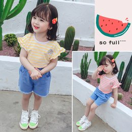 girls new jeans embroidery Canada - New Baby Girls Summer Clothing Sets Kids Jeans Round Neck T-shirt Embroidery Small Wrinkle Chrysanthemum Suit