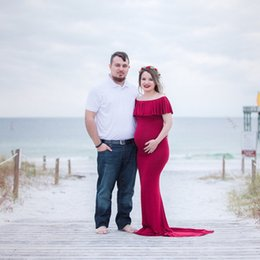 under jersey Australia - Le Couple Maternity Jersey Long Dress Slash Neck Maternity Photography Dresses Pregnancy Photo Dress Skinny Pregnant Maxi Gown CX200724