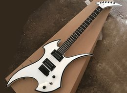 fret binding guitar NZ - White unusuall shaped electric guitar with black binding,rosewood fretboard,24 frets,can be customized as request