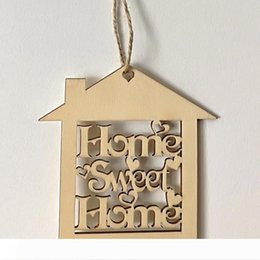 types hanging plants Australia - Home Sweet Home Wooden Ornaments Engraved Laser Cut Wood Hanging Hemp Rustic Wedding Warm Favors Christmas Tree Ornaments Gifts Wood Crafts