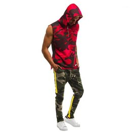 camouflage tracksuit wholesale UK - Slim Colorblock Sports Men Track Suit Sleeveless Tracksuit Casual Men Camouflage Printing Trend Men Hooded Zipper Cardigan Shorts